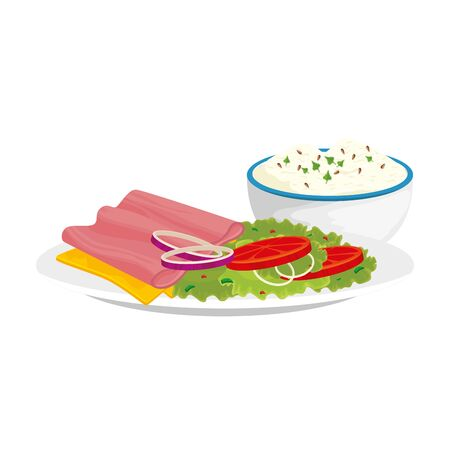delicious ham slice with dish delicious food isolated icon vector illustration design