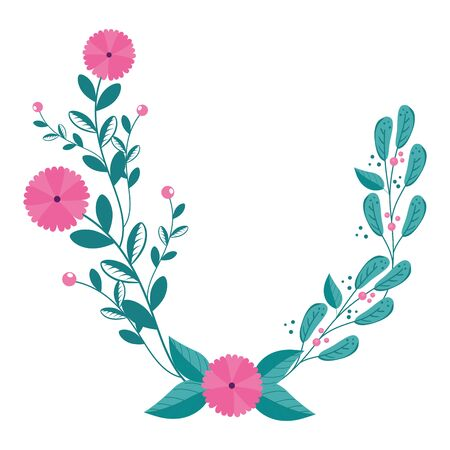 flowers with branches and leafs isolated icon vector illustration design