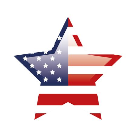 united states flag in shape star vector illustration design