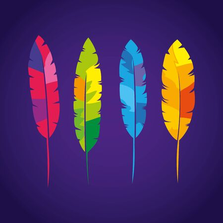 set of exotic feathers bird isolated icon vector illustration design 向量圖像