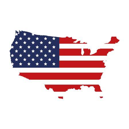 Mapa de Estados Unidos con diseño de ilustración de vector de icono aislado de bandera