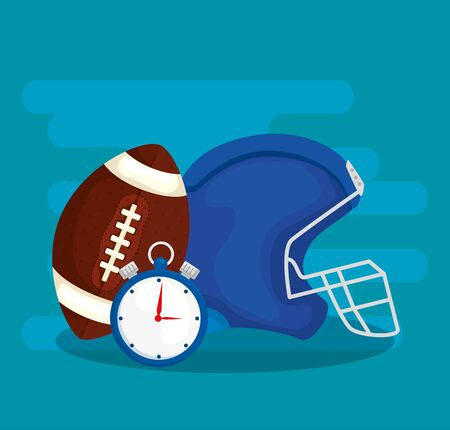 helmet with chronometer and ball american football vector illustration design