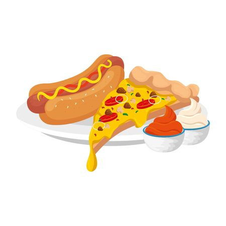 delicious italian pizza with hot dog and sauces fast food icon vector illustration design