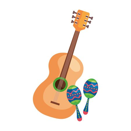 maracas with guitar musical instruments isolated icon vector illustration design 일러스트