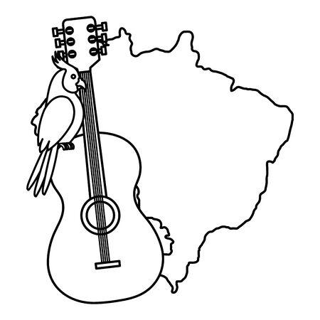 mappa del brasile con disegno di illustrazione vettoriale di pappagallo e chitarra