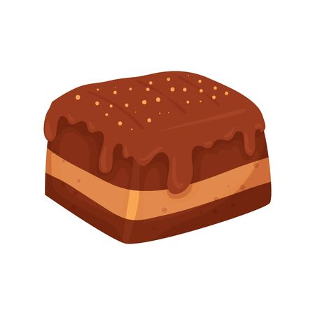 delicious brownie chocolate isolated icon vector illustration design
