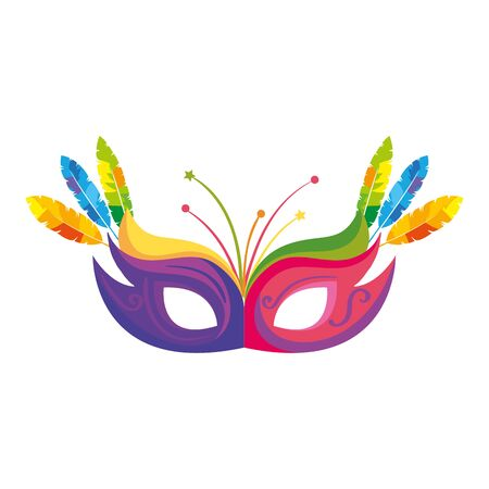 mask carnival with feathers isolated icon vector illustration design
