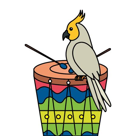 drum with parrot bird isolated icon vector illustration design