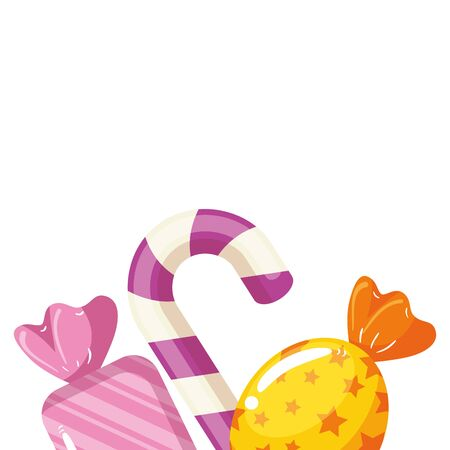 candies in wrapper with cane sweet vector illustration design