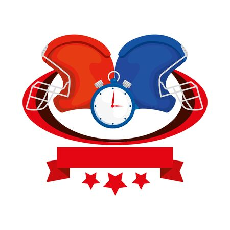 american football helmets and chronometer with ribbon and stars vector illustration design