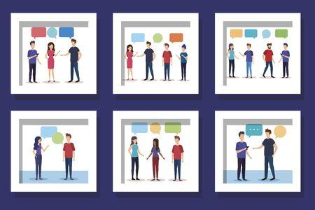 bundle with set designs of young people talking vector illustration design 向量圖像