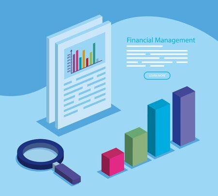 financial management with infographic and magnifying glass vector illustration design