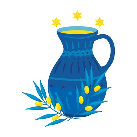 teapot of pottery decorative with stars david vector illustration design