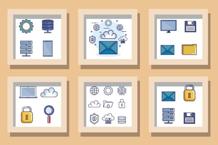 Bundle designs set of data center and icons vector illustration design Иллюстрация