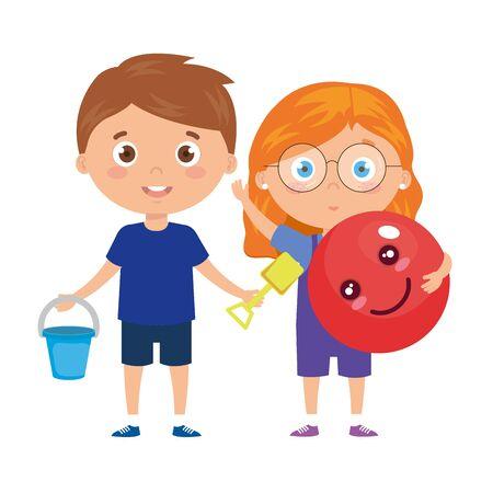 cute little children with school bag and toys vector illustration design