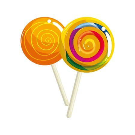 set of sweet lollipop isolated icon vector illustration design