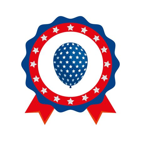 Usa balloon inside seal stamp design, United states america independence labor day nation us country and national theme  イラスト・ベクター素材