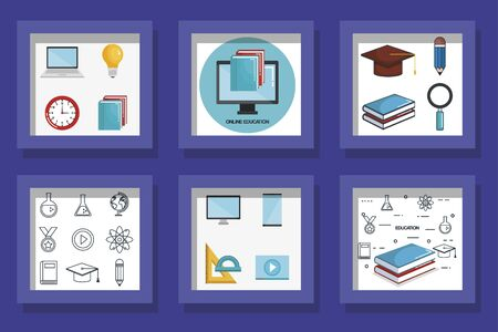 Bundle designs of education online and icons vector illustration design 向量圖像