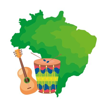 Drum and guitar with map of brazil vector illustration design