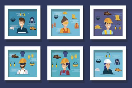 Bundle of workers with uniforms and personal protection elements vector illustration design