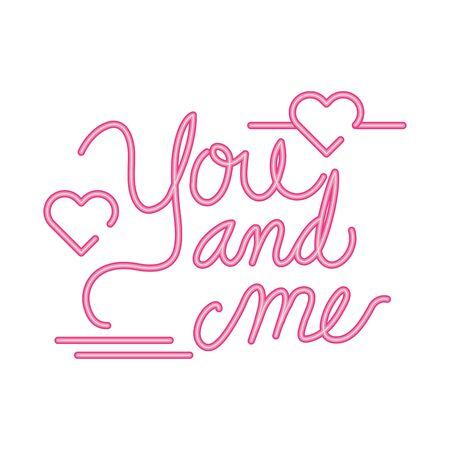 jij en ik belettering met harten decoratie vector illustratie ontwerp