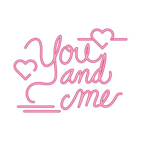 you and me lettering with hearts decoration vector illustration design