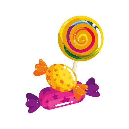 sweet lollipop with candies in wrapper isolated icon vector illustration design  イラスト・ベクター素材