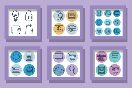Bundle of business with shopping set icons vector illustration design