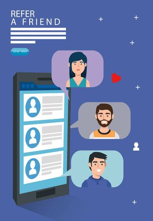 Refer a friend and smartphone with chat vector illustration design 向量圖像