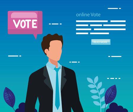Poster of vote online with business man vector illustration design