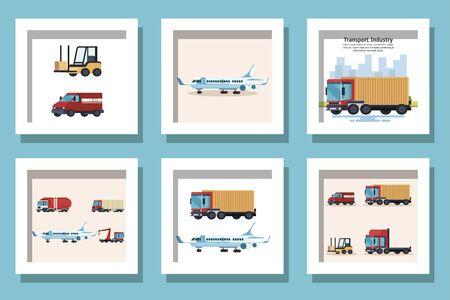 Bundle of delivery vehicles transportation vector illustration design