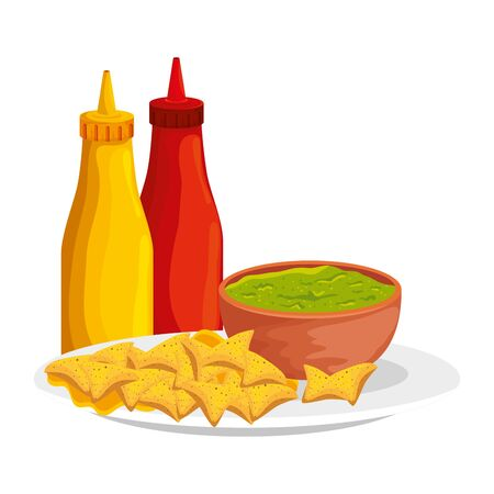 sauces with guacamole and nachos vector illustration design 向量圖像