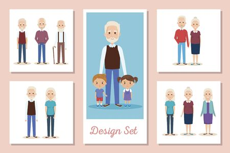 Set scenes of grandparents with grandchildren vector illustration design
