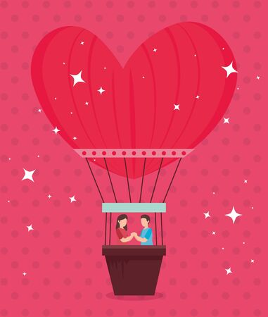 A couple in balloons air hot romantic travel vector illustration design