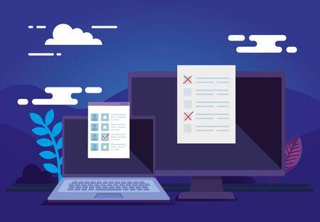 Laptop with computer for vote online vector illustration design  イラスト・ベクター素材