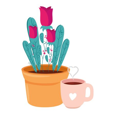 cup coffee with rose flowers in pot plant isolated icon vector illustration design Ilustração
