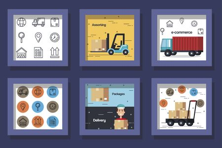 bundle designs of logistic service and icons vector illustration design