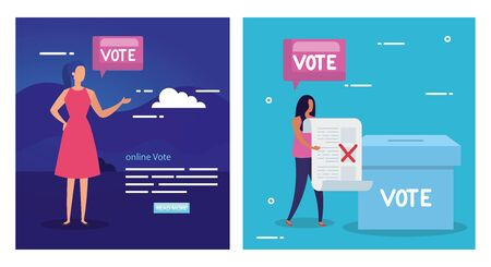 Set poster of vote with business women and icons vector illustration design 向量圖像