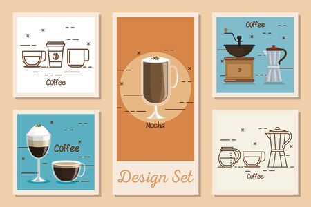 design set of coffee and icons vector illustration design