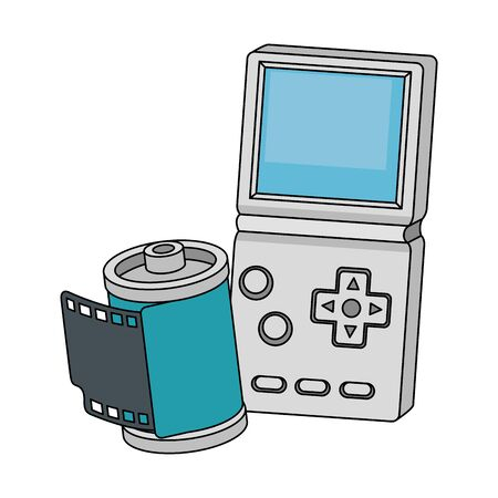 Roll camera with video game handle nineties style vector illustration design