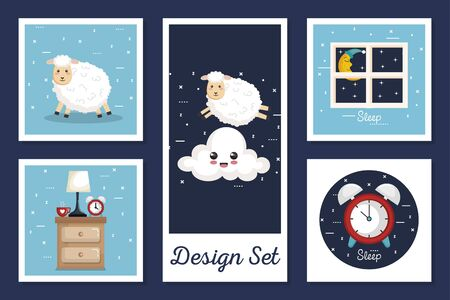 Designs set of sleep with cute icons vector illustration Vector Illustration