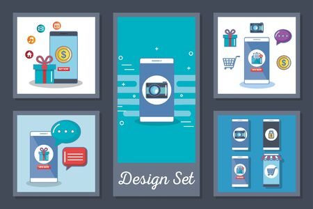 Designs set of smartphone and social media icons vector illustration