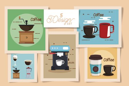 five designs of coffee and icons vector illustration design