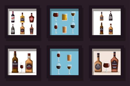 Designs of bottles whiskey and cups glass vector illustration