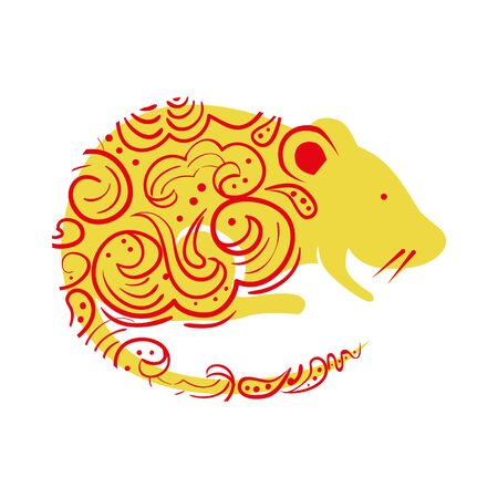 Rodent rat isolated icon on white