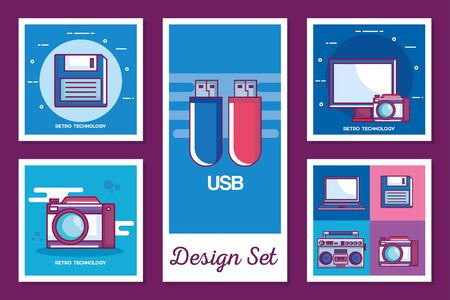 Retro technology set design, Digital communication social media internet web and device theme 向量圖像