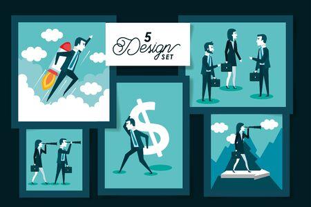 five designs of business people vector illustration design
