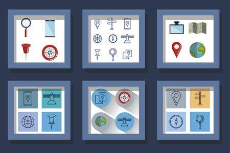 Bundle designs of gps navigation and icons