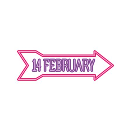 february 14 label in neon light, valentines day vector illustration design