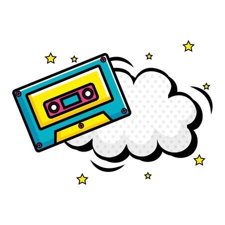 cassette music with cloud pop art style icon vector illustration design 向量圖像